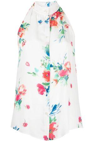 Moschino Dames Haltertops - Floral-print halterneck blouse