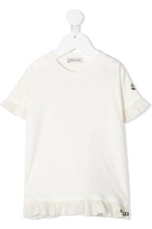Moncler T-shirts - Ruffle-trim logo-patch T-shirt