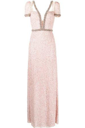 Jenny Packham Pastel Love plunge-neck gown