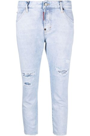 Dsquared2 Dames Skinny - Cropped distressed-effect skinny jeans