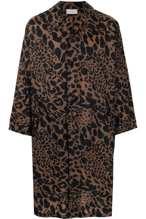 PIERRE-LOUIS MASCIA Heren Trenchcoats - Leopard-print trench coat