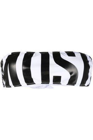 Moschino Dames Bandeau bikini's - Logo-print bandeau bikini top