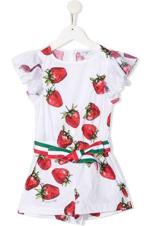 MONNALISA Strawberry-print cotton playsuit