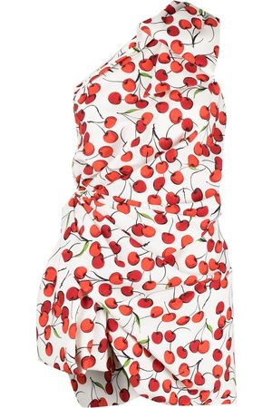 Saint Laurent Cherry print one-shoulder dress
