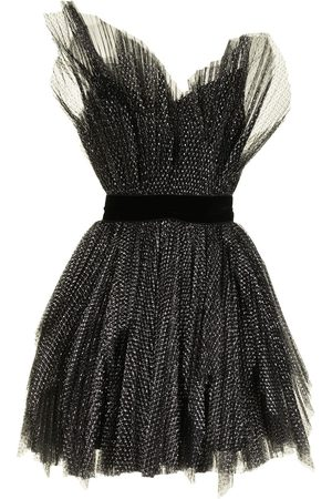 RALPH & RUSSO Pleated-tulle mini poof dress