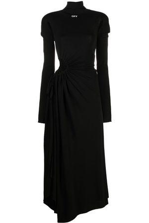 OFF-WHITE Cut-out plissé panel long dress