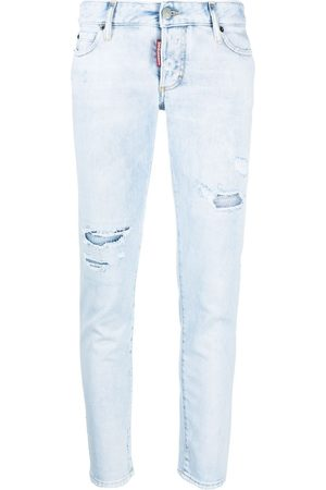 Dsquared2 Dames Skinny - Low-rise distressed skinny jeans