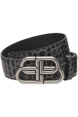 Balenciaga Heren Riemen - Bb Logo Croc Embossed Leather Belt