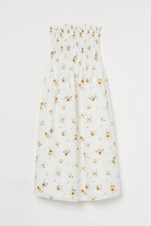 H&M Dames Midi jurken - Bandeaujurk met smokwerk