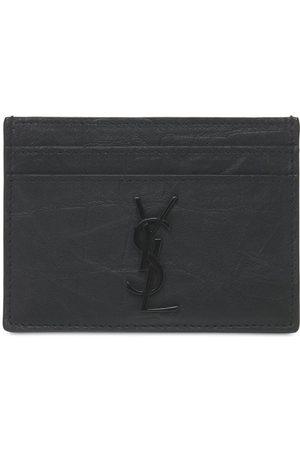 Saint Laurent Heren Portemonnees - Embossed Leather Card Holder