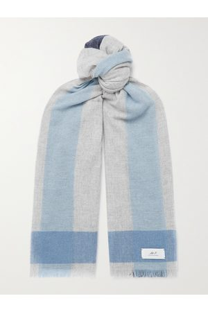 Mr P. Heren Sjaals - Fringed Colour-Block Cashmere Scarf