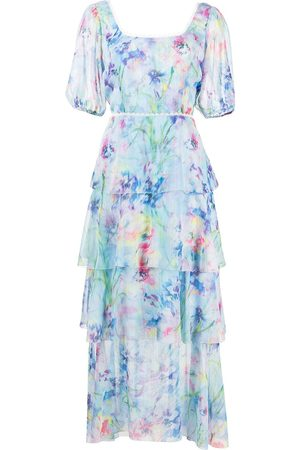 Marchesa Notte Puff sleeve tiered dress