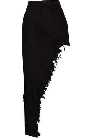 Alexander Wang Distressed-effect asymmetric denim skirt