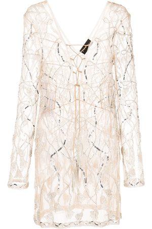 Dundas Embellished semi-sheer mini dress