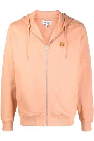 Kenzo Embroidered-design zip-fastening hoodie