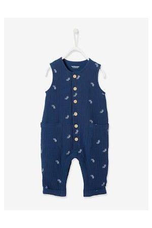 Vertbaudet Jumpsuit babyjongen van geborduurd katoengaas jeansblauw