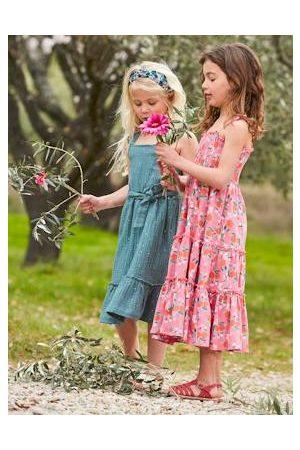 Vertbaudet Meisjes Geprinte jurken - Lange meisjesjurk met smokwerk en bloemenprint met print