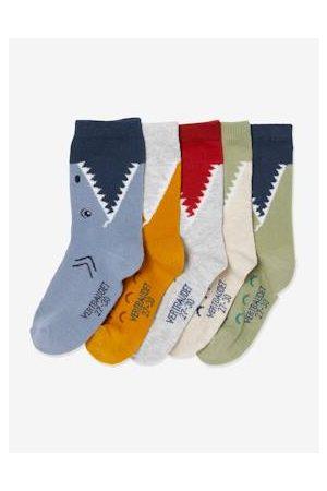 Vertbaudet Jongens Sokken - Set van 5 paar krokodillen- en haaiensokken set donkerlindegroen