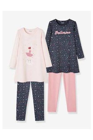Vertbaudet Meisjes Nachthemden - Set van 2 jersey nachthemden + leggings rozenwater
