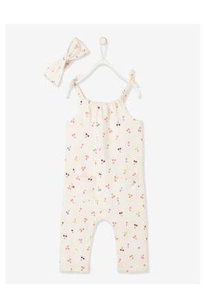 Vertbaudet Haaraccessoires - Set jumpsuit en haarband babymeisje van molton ivoor met print