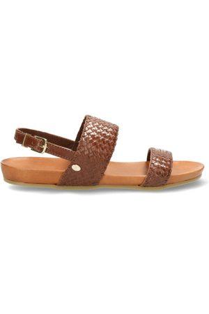 Fred de la Bretoniere Dames Sandalen - Sandal with woven leather brown