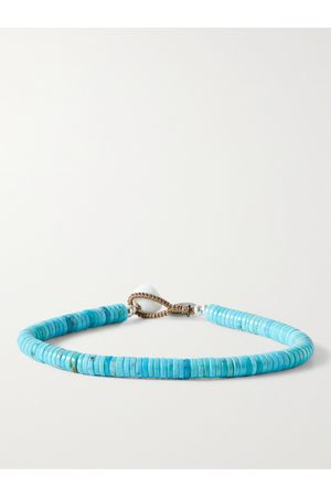Mikia Heren Armbanden - Turquoise and Sterling Silver Beaded Bracelet