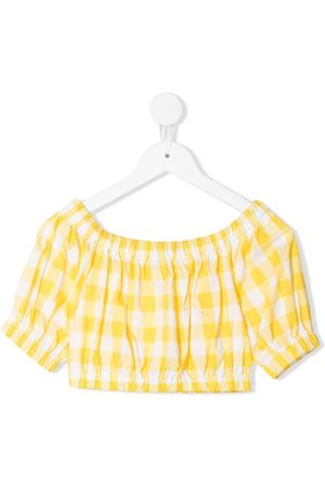 Piccola Ludo Gingham-gathered crop top
