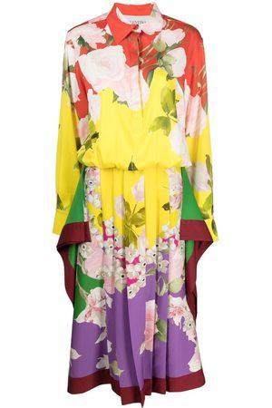 VALENTINO Pleated floral-print midi dress