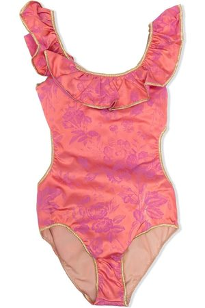 Oseree Floral print ruffled swimsuit