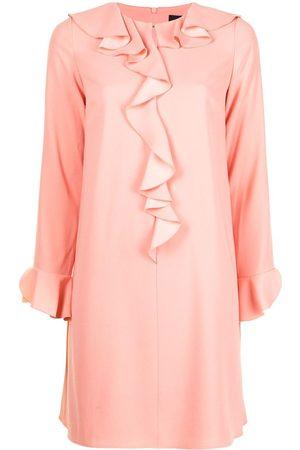 Paule Ka Ruffle-embellished satin-crepe shift dress
