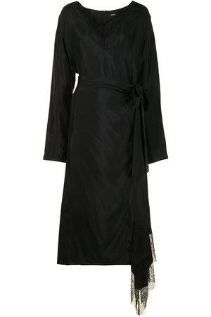 GOEN.J Lace-trimmed charmeuse wrap-dress