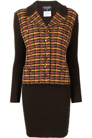 CHANEL 1995 layered jacket-effect knitted dress