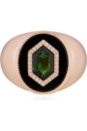 O THONGTHAI 14kt yellow tsavorite diamond signet ring