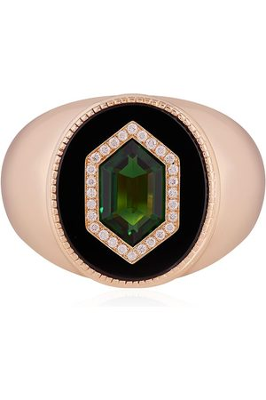 O THONGTHAI Heren Ringen - 14kt yellow tsavorite diamond signet ring
