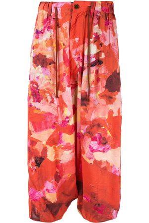 YOHJI YAMAMOTO Floral drawstring cropped trousers
