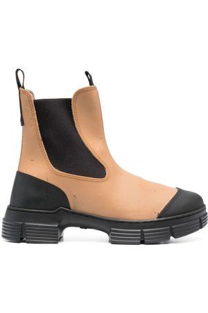 Ganni Dames Enkellaarzen - Two-tone Chelsea boots