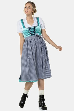 Ulla Popken Dames Lange jurken - Grote Maten Folklore Jurk, Dames, turquoise