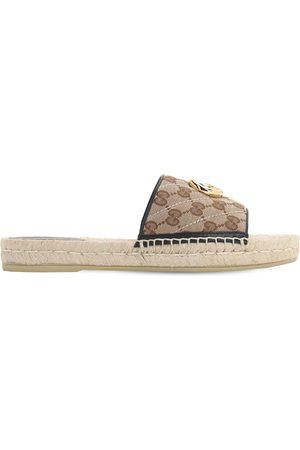 Gucci Dames Espadrilles - 20mm Pilar Canvas Slide Espadrilles