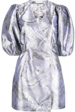 Ganni Jacquard puff-sleeve wrap dress