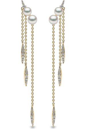 Yoko London 18kt yellow Trend freshwater pearl and diamond chain earrings
