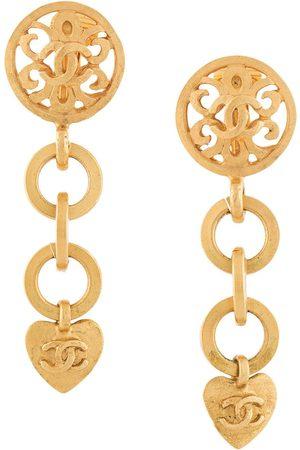 CHANEL 1995 CC heart dangling clip-on earrings