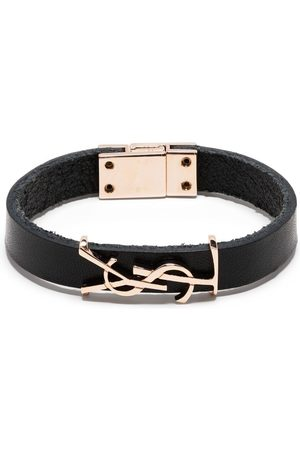 Saint Laurent YSL logo leather bracelet