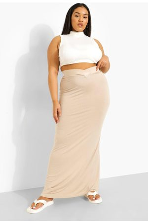Boohoo Dames Maxi rokken - Plus Jersey Maxi Rok Met V-Taille Band