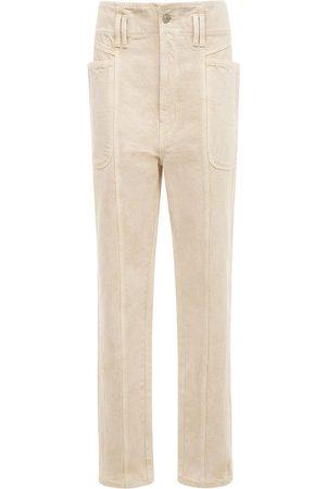 Isabel Marant Tess High Waist Cotton Straight Pants