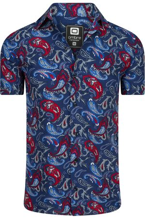 Ombre Clothing Overhemd korte mouw paisley print navy