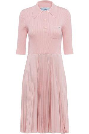 Prada Embroidered-logo polo-shirt dress