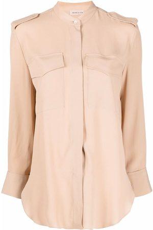 BLANCA Collarless long-sleeved blouse