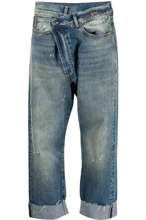 R13 Asymmetric cropped leg jeans