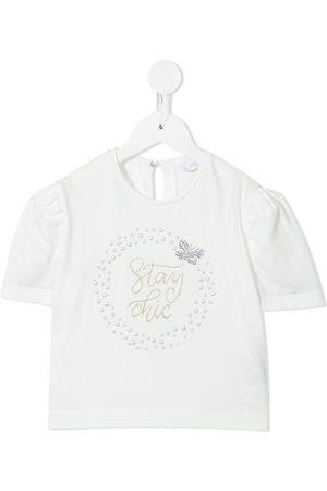 MONNALISA Slogan embroidered short-sleeve blouse