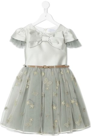 MONNALISA Tulle trim bow-front party dress